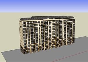 欧式风格多层详细的居住楼SU(草图大师)亿博网络平台