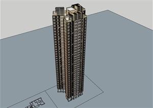高层现代风格详细居住楼SU(草图大师)亿博网络平台