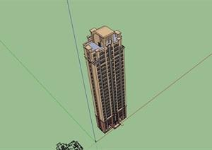 详细的完整独特小区高层居住楼SU(草图大师)亿博网络平台