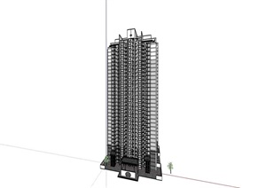 完整的详细高层中式居住楼SU(草图大师)亿博网络平台
