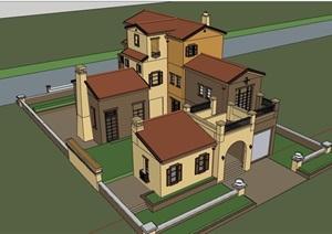 某欧式风格详细的民居别墅居住SU(草图大师)模型