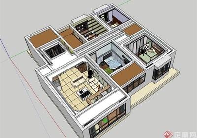 某现代风格详细的住宅室内空间装饰su模型