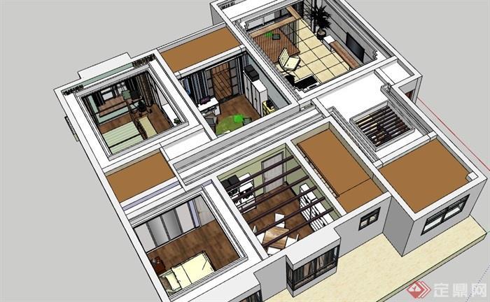 某現代風格詳細的住宅室內空間裝飾su模型