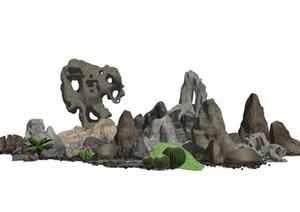 新中式假山石头太湖石景观石景观小品SU(草图大师)模型5
