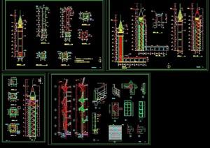 某完整的详细观景塔素材cad施工图