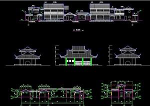 古建筑完整的详细独特旅游建筑设计cad施工图