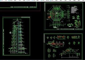 完整的古典中式塔素材设计cad施工图