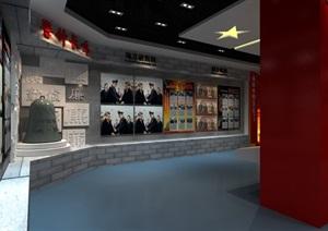 某展厅政务墙设计SU(草图大师)文件含贴图