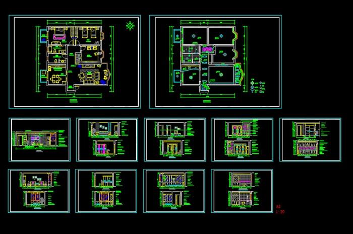某現代風格詳細室內住宅裝修室內cad施工圖