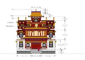 某市香格里拉藏传佛教寺庙曲桑寺模型