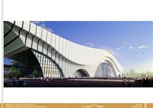 某市大连站公建现代火车站