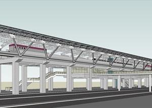 某市光明路轻轨站建筑方案模型