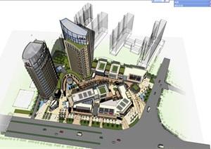 某市岳阳第一弯商业综合体建筑方案模型