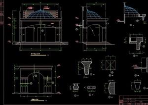 详细的完整亭子节点素材cad施工图
