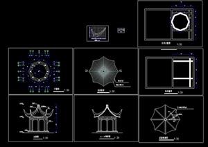 详细的现代经典八角亭cad施工图