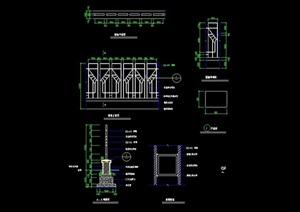 完整的详细围墙景观节点cad施工图