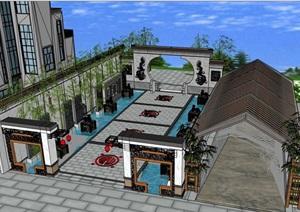 完整的中式庭院的SU(草圖大師)模型