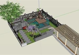 詳細的完整中式庭院的SU(草圖大師)模型