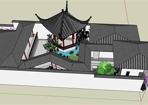 古典中式桃花庭院的SU(草圖大師)模型