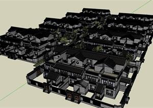 中式风格院落别墅精细建筑SU(草图大师)模型