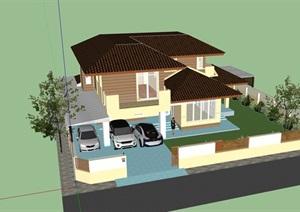 欧式庭院别墅详细建筑设计SU(草图大师)模型