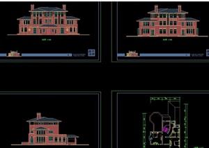 详细的独栋欧式住宅别墅设计cad施工图