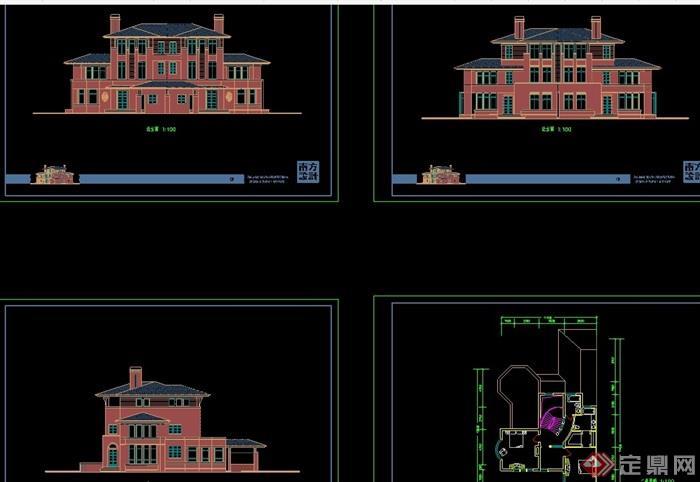 詳細的獨棟歐式住宅別墅設計cad施工圖