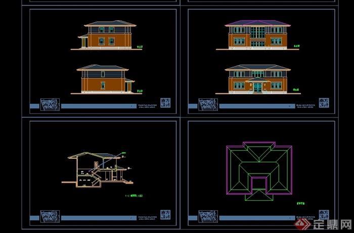 欧式风格独栋两层住宅别墅设计cad方案