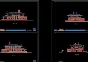 欧式风格完整的多层详细住宅别墅设计cad方案