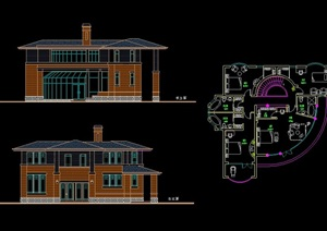 详细的欧式风格整体住宅别墅设计cad方案