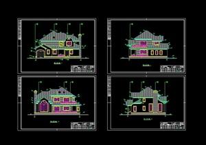 欧式风格独栋多层住宅别墅设计cad方案