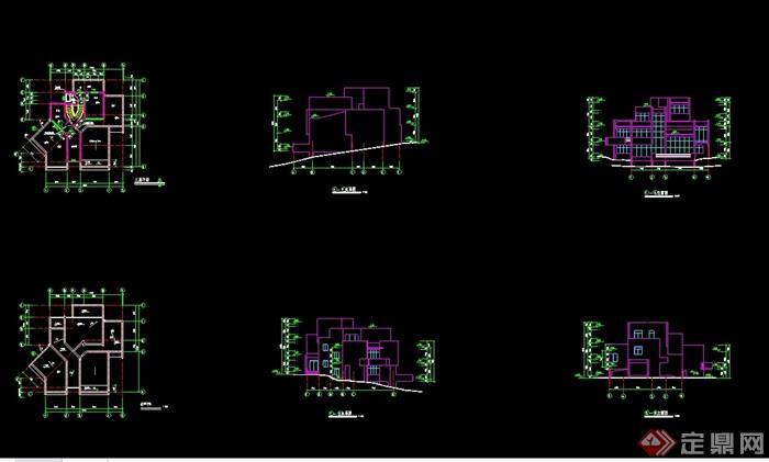 完整的詳細獨特別墅cad施工圖
