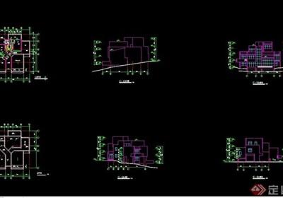 完整的详细独特别墅cad施工图