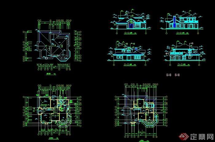完整的詳細歐式別墅設計cad施工圖