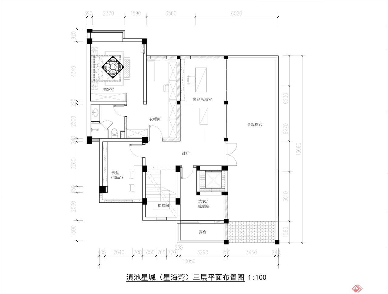 三层平面布局设计图